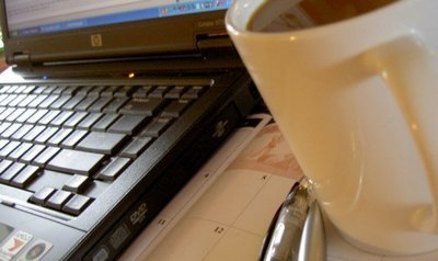 secretary's desk with laptop