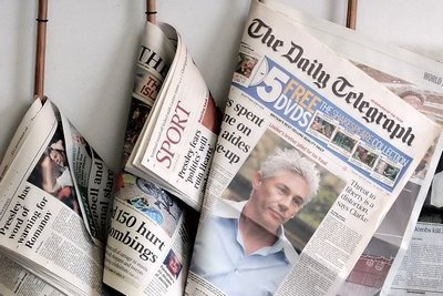 newspapers hanging up